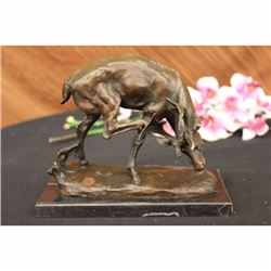 SIGNED BUCK STAGG HUNTER CABIN BRONZE SCULPTURE