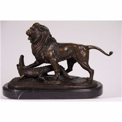 ART DECO LION ATTACKING CROCODILE BRONZE STATUE