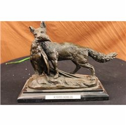 EMILE TRUFFOT POACHER FOX  PHEASANT BRONZE SCULPTURE