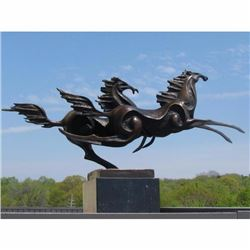 VINTAGE ART DECO BRONZE CONTEMPORAY MUSTANGS
