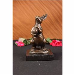EASTER BUNNY SIGNED MILO BRONZE SCULPTURE