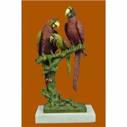 Handcrafted Brazilian Parrot Family Bronze Sculpture on White Marble Base Figure