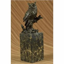 Original Vienna Bronze Bird Owl Book End Bookend Bronze Sculpture Marble Statue