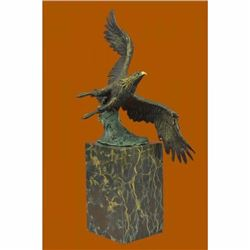 Art Deco Multi Color Patina American Bald Eagle Classic Bronze Statue Artwork