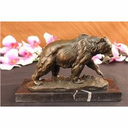 Bronze Grizzly Bear Hunting Fish River Sculpture Art Figurine