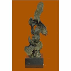 Abstract Modern Art Two Fighting Eagles Birds Wildlife Bronze Sculpture Statue