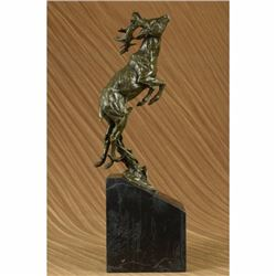 Signed Bugatti Male Deer Stag Buck Jumping Bronze Sculpture Wild Life Statue Art