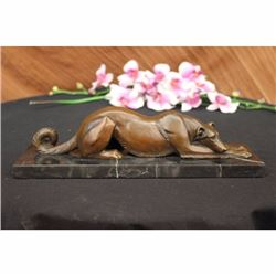 Signed Carvin Patient and Loving Greyhound Dog Bronze Art Deco Sculpture Statue