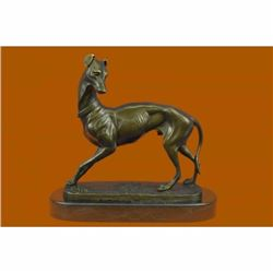 Hot Cast Large Greyhound Dog Pet Lover Bronze Sculpture Marble Base Statue Figurine