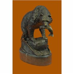 YOUNG BEAR WITH CATCH OF THE DAY BRONZE SCULPTURE HOT CAST ARTWORK MARBLE BASE