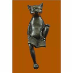 Bronze Sculpture Large Cat For Desk Home Office Decor Lost Wax Masterpiece Nick