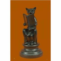 Charming Handcrafted Cat with Baby Telling Stories Bronze Sculpture Figurine Art