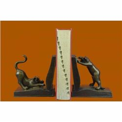 Signed Original Two Playful Cat Bookends Book Ends Bronze Sculpture Statue Sale