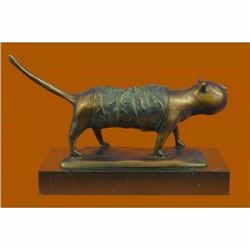Signed Fernando Botero Fat Cat Bronze Abstract Modern Art Sculpture Statue Decor