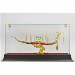 24K Gold Bronze Extra Large Chinese Ship with Ruby Sapphire Jewelry Sculpture NR
