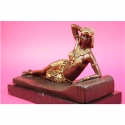 Gold Patina Art Deco Egyptian Princess Bronze Sculpture