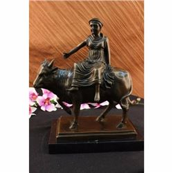 Abstract Botero Young Woman Rides a Bull Bronze Marble Sculpture Statue