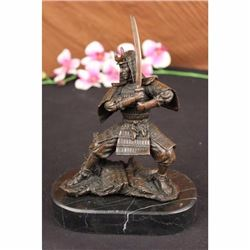 Signed Original Kamiko Japanese samurai Warrior Bronze Marble Sculpture Statue