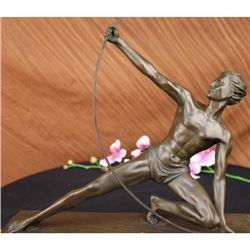 SIGNED VINTAGE POWERFUL MAN WITH BOW BRONZE SCULPTURE STATUE FIGURINE