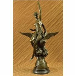 Signed Picault Nude Girl Riding Eagle Bronze Sculpture Hot Cast Mythical Figure