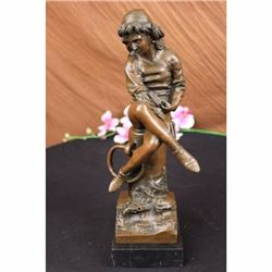 Signed Carpeaux Young Man sitting on a tree Trunk Reading Book Bronze