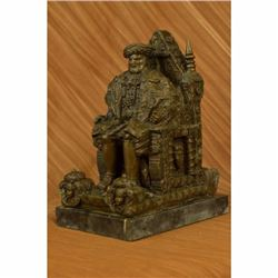 Original Russian King upon a Throne Bronze Sculpture Statue Marble Base Figure