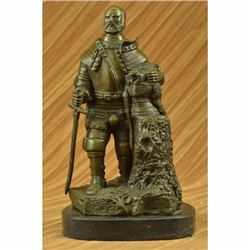 Hot Cast Signed Dalov European Warrior With Sword Bronze Sculpture Statue Figure