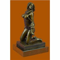 Hot Cast Nude Female holding Whip Bronze Sculpture Marble Base Figurine Figure