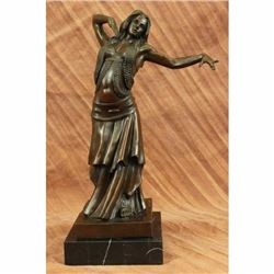Art Nouveau Deco Heme Decor Belly Dancer Bronze Sculpture Marble Base Figure