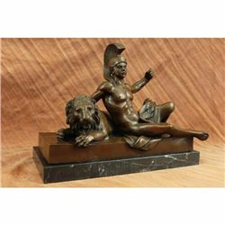 Art Deco Hot Cast Roman Warrior Laying next to Lion Bronze Sculpture Figurine NR