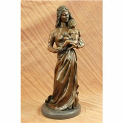 Mother Love Child Mother Day Gift by Jean Gautherin Bronze Sculpture Statue Gift
