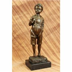 Decorative Collectible Large Smoking Boy by Schmidt Felling Bronze Sculpture Art