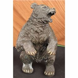 Large Brown Bear Bronze Sculpture Statue By Remington Wild Animal Figurine