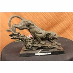 Signed Barye Panther Wild African Cat on Tree Bronze Sculpture Statue