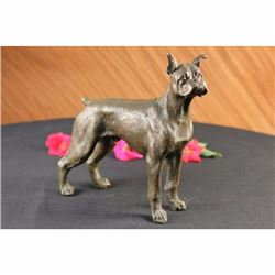 Vienna Bronze Large English Boxer Dog Terrier Signed Art Deco Sculpture Figurine