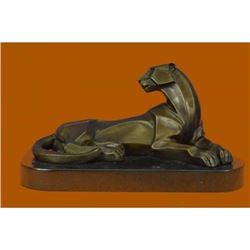Handcrafted Henry Moore Mountain Lion Bronze Sculpture Marble Base Figurine Deal