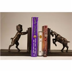 PAIR RARE BRONZE BOOKENDS SCULPTURE STATUE