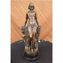 VINTAGE SEMI NUDE EGYPTIAN PRINCESS BRONZE STATUE