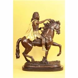 Large Bronze - King Louis XV of France on Horseback Art Deco Sculpture Figurine