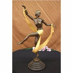 SIGN ROZET GOLD PATINA CURTAIN DANCER BRONZE SCULPTURE ART NOUVEAU DECO FIGURINE
