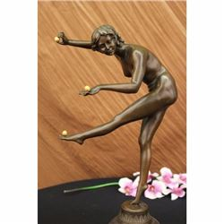 BRONZE STATUE GIRL JUGGLING