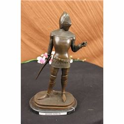 VINTAGE SIGNED KNIGHT WORRIOR BRONZE STATUE