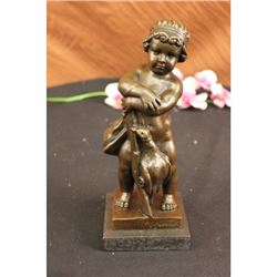 Czech Vaclav Novak Children W/ Gun Bronze Sculpture Statue Figurine Art