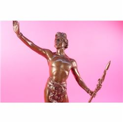 Art Deco Signed Warrior W/ Spear Bronze Statue Figurine