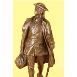 YOUTFULL AMERICAN BENJAMIN FRANKLIN BRONZE SCULPTURE