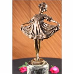 Young Girl Mid Dance Pose Bronze Figurine Statue Preiss