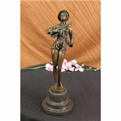 Bronze Marble Sculpture Statue Banjo Woman Music Song