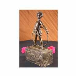 Bronze Marble Statue Pretty Girl playing Bookend Figure Figurine Art