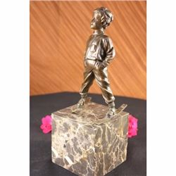 Art Deco Sport Ski Skiing Player Bronze Statue Book-End Sculpture Art