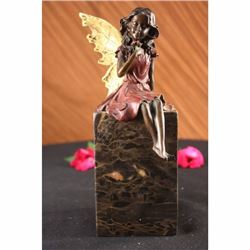 Valentine Angel Holding Flower Bronze Figurine Book-End